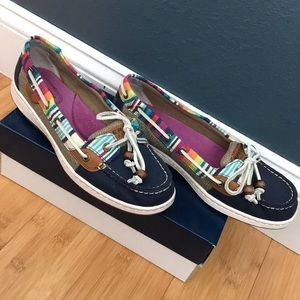 Multicolored sperries. Size 8. Barely worn.