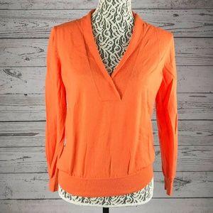 J. Crew Orange Merino Wool V Neck Light Sweater-L