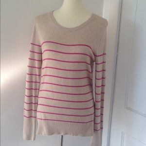Beige sweater with fuchsia stripes size large.