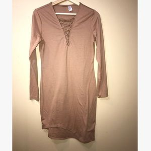 H&M Long Sleeve Asymmetrical Tan V-Neck Tie Dress