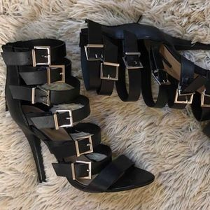 Leather Buckle High Heels