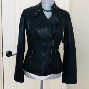 Michael Kors genuine leather moto jacket