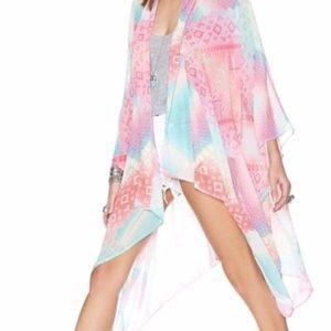 Nasty Gal Rainbow Printed Kimono Tunic OS