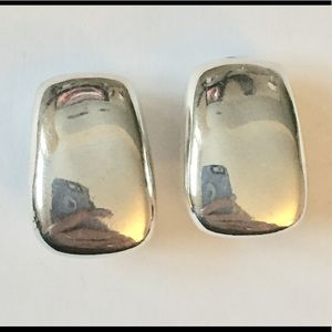 Vintage Norma Jean silver modern clip on earrings