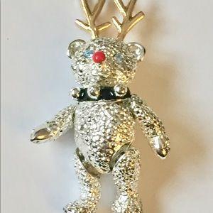 Vintage NAPIER  Christmas Teddy Bear Brooch