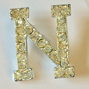 Vintage N letter Brooch Initial