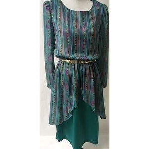 Green & Purple. Vintage Dress Size 12