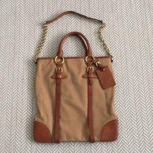 Ralph Lauren Collection Canvas and Calfskin Tote