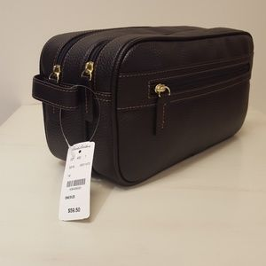 Nwt. Leather Luggage Personal Care Bag Dark Brown
