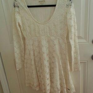 Cream Billabong Lace long sleeve dress