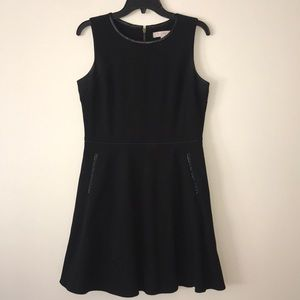Ann Taylor LOFT Black Dress with Leather Trim