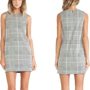 Theory Adraya Plaid Jacquard Dress in Black & Whit
