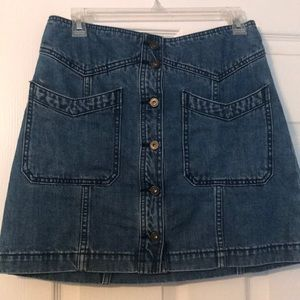 Free People front button denim skirt
