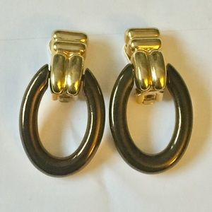 Vintage clip on hoop earrings brown gold
