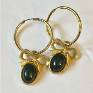Vintage gold bow hoop earrings