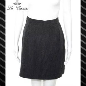 LES COPAINS Perfect Dark Gray Wool A-Line Skirt
