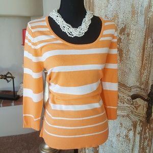Orange and white Striped Sweater. Size Large