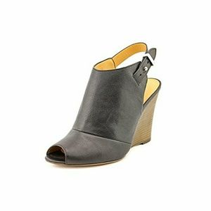 Coach Lindsay Peep Toe Leather Wedge Heel