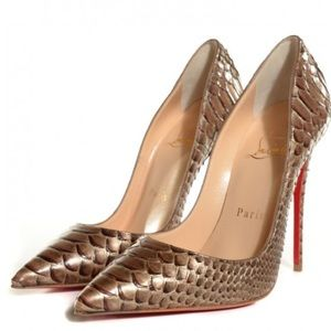 Christian Louboutin Gold So Kate 120 Python Armure