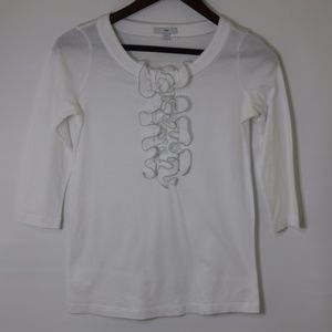Gap White ruffled blouse