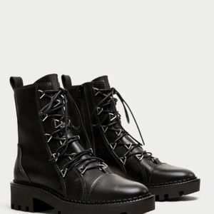 Zara Black Leather Combat Boot