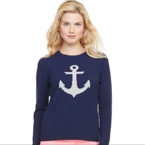 Vineyard Vines Single White Anchor Blue Sweater