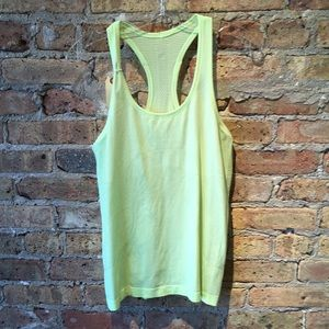 Lululemon neon yellow run swiftly tank sz 8 56206