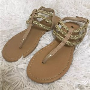 Nude Buckle Chain Sandals