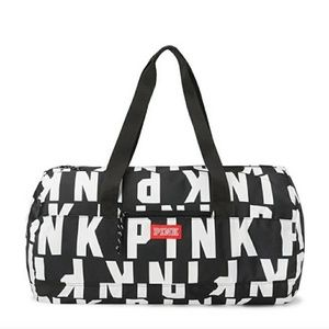 Pink black and white duffle