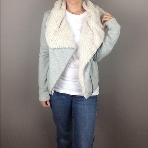 LOFT furry collar Moto style sweatshirt jacket