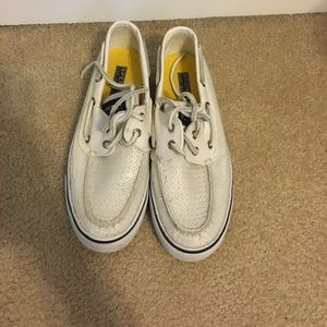 Sperrys sequin boat shoes
