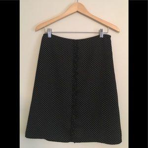 Black A-line polka dot skirt, size 6