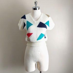 vintage 80's cropped v-neck short sleeve sweater