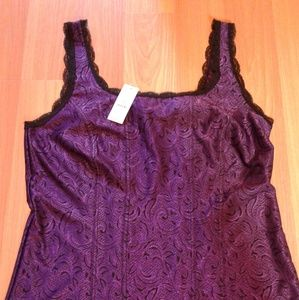 Amethyst Purple Black Lace Trim WHBM Tank Top NEW