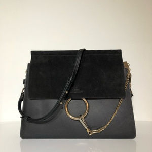 Chloe Black Leather Faye Shoulder Bag