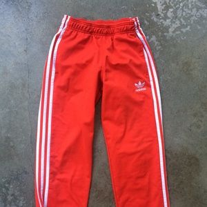 Classic Adidas red 3 white stripes track pants xs