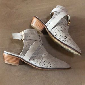 Gray Strapped Open Back Booties