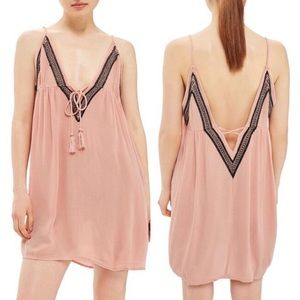 Topshop Pink Embroidered Cover-up Slipdress