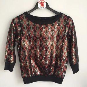 Express Black Sequins Red Argyle Sweater