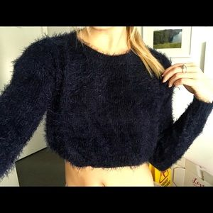 Fuzzy blue cropped sweater Stella Laguna Beach