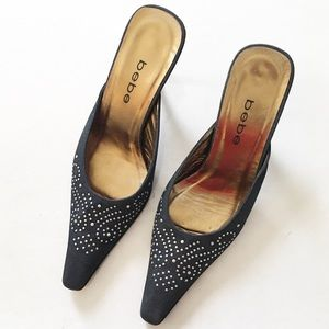 Bebe Dark gray studded kitten heels size 7