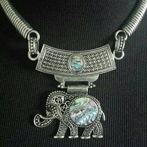 Boho Opal Elephant Statement Choker