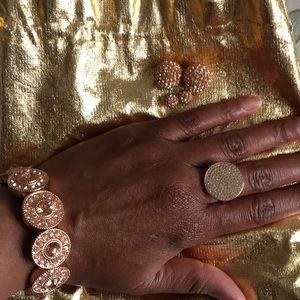 Rose Gold Jewelry Set Earrings, Ring & Bracelet