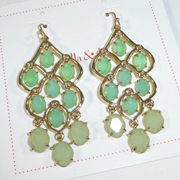 Stella Dot Green Hannah Chandelier Earrings