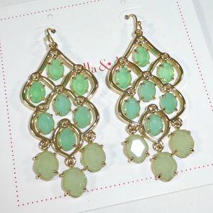 Stella & Dot Green Hannah Chandelier Earrings