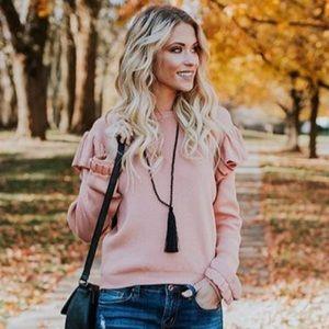 VICIDOLLS Ruffled Sweater- Light pink