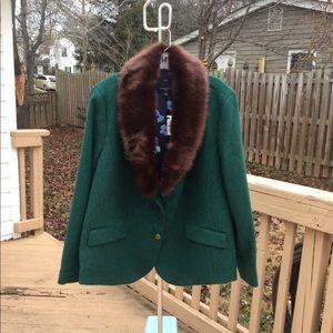 NWT Talbots Green Lined Wool Blazer Opt Faux Fur