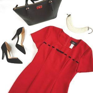 Vintage Velvet Bow Red Professional Dress, S