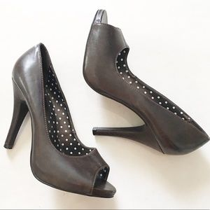 X-Appeal Dark brown peep toe heels size 7