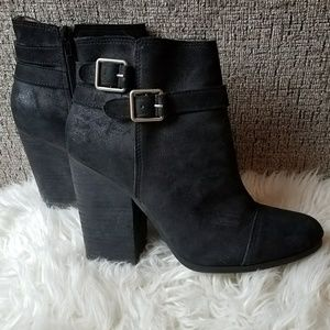 LUCKY BRAND Black Laureen Ankle Heeled Booties
